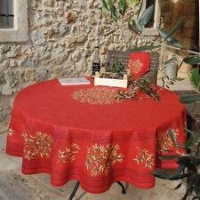 Nappe ronde 1 m 80 coton Clos des oliviers rouge