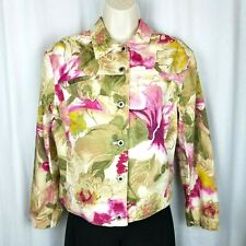 Caribbean Joe womens jacket size M pink green white floral