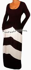 DW9 FUNFASH BLACK WHITE CHEVRON LONG SLEEVES WOMENS MAXI DRESS Size Large 9 11