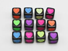 250 Black with Neon Color Love Heart Cube Pony Beads 7X7mm for Craft