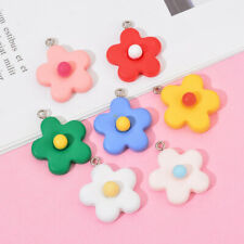 10pcs Charms Double Sided Flower 24x28mm Resin Pendant For DIY Jewelry Making