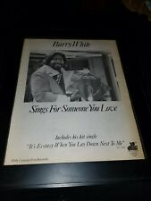 Barry White It's Ecstasy When You Lay Down Next To Me Promo Poster Ad Framed!