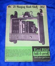 UNUSED 1949 VTG  EASI BILD DIY WOODWORKING CRAFT PATTERN 21 Hanging Book Shelf
