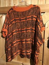 "Black / Terracotta Orange Knitted Top One Size Chest 52""-54"" By Layers Paris"