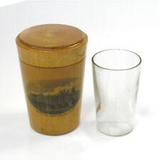 Royal Holloway College Egham Antique Mauchline Ware tot shot glass case holder