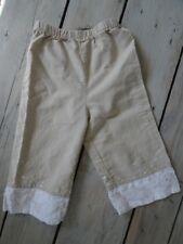 Pantalon en lin et coton beige et blanc brodé fleurs Taille 4 ans parfait état