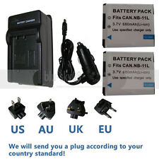 2x NB-11L Battery + Charger for Canon Powershot ELPH 170 320 340 350 SX400 SX410