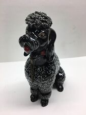 Vintage Lefton Black Poodle Bank Spaghetti Chain Animal Large Figurine Dog