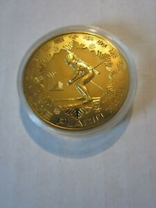 1980 CHINA 1 Yuan PROOF Brass Coin Moscow Olympics Biathlon in Original Plastic!