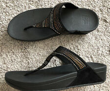 Fitflop Strobe Luxe Toe Thong Sandals Black SZ 9 Rhinestones Comfort Casual NEW
