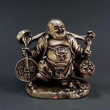 China Buddhism Fengshui Pure Silver Wealth Yuanbao Money Maitreya Statue Antique