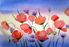 "Sunset Evening Poppies  Landscape Flowers Watercolor  Painting 4"" x 6"" M.Kilic"