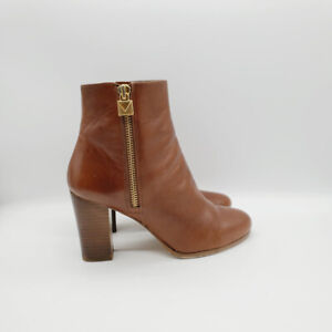 Michael Kors Womens Brown Leather Almond Toe Block Heel Ankle Boots Size 8 M