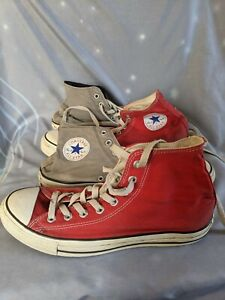 2x Pairs Converse Chuck Taylor All Star High Tops - Red, Grey -  Size 9M 11W