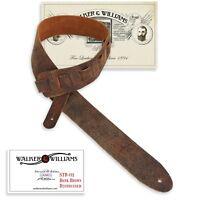 Walker & Williams STR-01 Distressed Dark Brown Italian Leather Guitar Strap