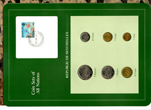 Coin Sets of All Nations Seychelles w/card all 1982 UNC Coral stamp