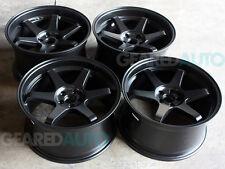 """Miro 398 Wheels 18"""" x 9.5"""" 10.5"""" 350Z G35 FRS BRZ WRX STI te37 CIVIC BLACK JDM"""