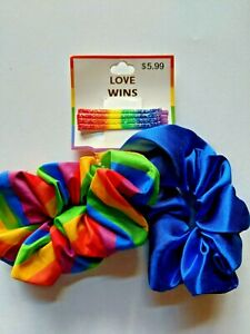 Love Wins Scrunchies with Bobby Pins Hair Accessories LGBTQ Pride Rainbow Gay
