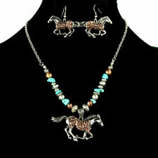BURNISHED SILVER TURQUOISE BLUE BEADED WESTERN HORSE NECKLACE EARRINGS SET