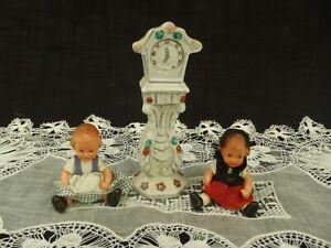 Vintage 1960s Dollhouse Miniature Porcelain hand painted Grandfather CLOCK