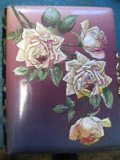 Antique Photo Album Celluloid Rose Repousse Velvet Back Gilt Edges