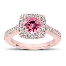 1.28 Carat Pink Tourmaline Engagement Ring, Wedding Ring 14K Rose Gold Halo Pave