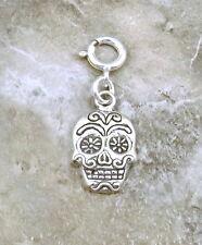Sterling Silver Sugar Skull Charm fits European and Link Charm Bracelets - 0480