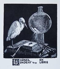 SIR LIONEL LINDSAY (1874-1961) RARE Woodcut Ex Libris Norman Lindsay 1930