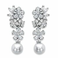 9.30 TCW Simulated Pearl and Cubic Zirconia Silvertone Floral Drop Earrings