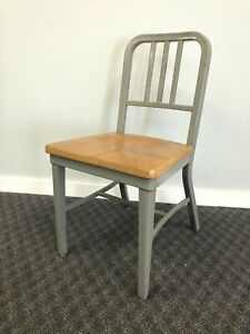 Vintage INDUSTRIAL OFFICE CHAIR Metal Wood desk tanker mid century modern gray