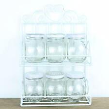 Shabby Chic Spice Rack Jars Holder Stand Storage Spice Kitchen Glass Metal Jar