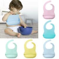 Waterproof Soft Silicone Baby Bib Feeding Food Catcher Pocket Adjustable AU TOP