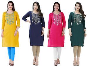 Indian Women's Beautiful Embroidery Straight Cotton Kurta Kurti Dress Top Tunic