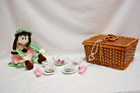 Doll & Child's Wicker Picnic Basket with Mini Porcelain Tea Set for Two (#S8293)