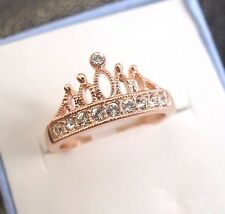 Princess Crown Rose Gold Plated Shiny Crystals Cocktail Engagement Ring