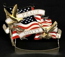 Patriotic American Flag *Peace and Unity Doves* Decoration/Ornament BRASS