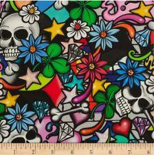 "ALEXANDER HENRY Street Skulls Multicoloured Fabric Sold by Quarter METRE W44"""