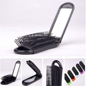 Portable Travel Hair Comb Folding Hair Brush With Mirror Compact Pocket