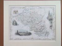 BELGIUM MAP ANTIQUE TALLIS RAPKIN DATED 1851DECORATIVE COLOURED MOUNTED 42x34cM