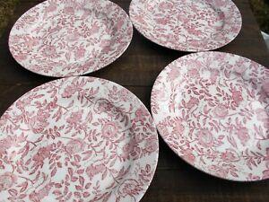 Vintage Noritake Plates,Bristol Pattern,Pink Roses,Vintage Dinner Plates,Set of 4 Wedding,Bridal Shower,Mismatch Dinnerware Set