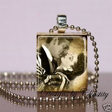 Gone with the Wind Scrabble Necklace Charm Scarlett O Hara Rhett VTG Art Image