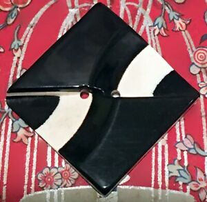 Vintage Art Deco Black & White Layered & Carved Casein Button, Square