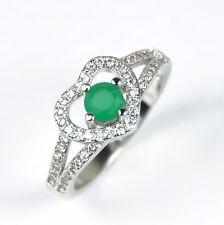 Para Mujer Chapado en Oro Blanco Cristal Corazón Verde Anillo Joyería Uk Size M