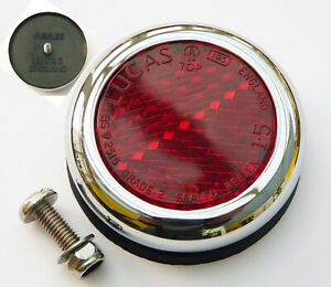 Genuine Lucas RER25 Red Reflector & Chrome Rim, for Classic Car or Motorcycle