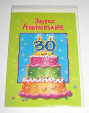 Carte Anniversaire + Enveloppe Gateau 30 ans 12x 18 cm NEUF
