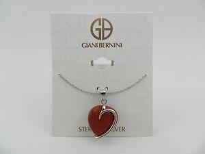 "Giani Bernini  red Jasper Heart 18"" Pendant Necklace in Sterling Silver"