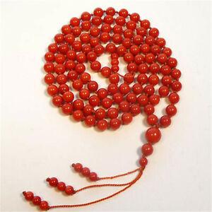 8mm Natural Coral 108 Beads Handmade Tassel Necklace Buddhism Chakra Healing