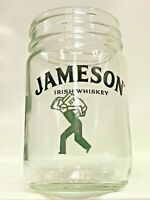 Lot of 4 JAMESON IRISH WHISKEY Real GLASS Mason Jars Home Bar Man Cave Gift 12oz