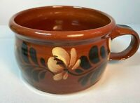 Eldreth Pottery Redware Signed 2003 Hand Painted Floral Terracotta Soup Bowl Mug