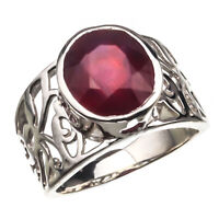 925 Sterling Silver Handmade Pink Ruby Natural Certified 5.00 carat Vintage Ring